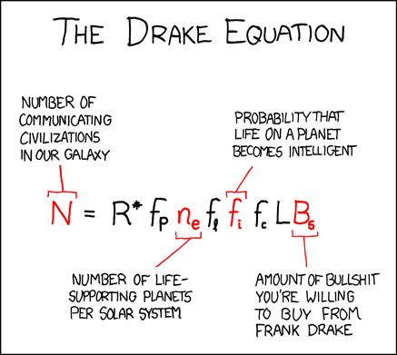 Randall Munroe's XKCD: The Drake Equation